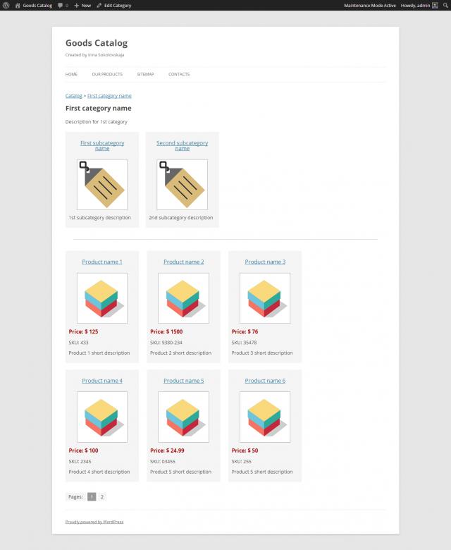 Goods Catalog - Рубрика