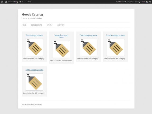 Goods Catalog: каталог товаров WordPress
